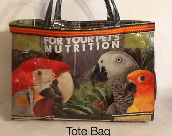 Recycled Handmade Exotic Bird Feed Bag Tote Bag