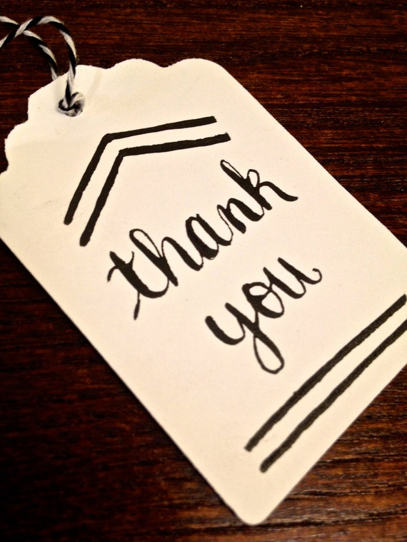 "Modern calligraphy gift tag ""thank you"