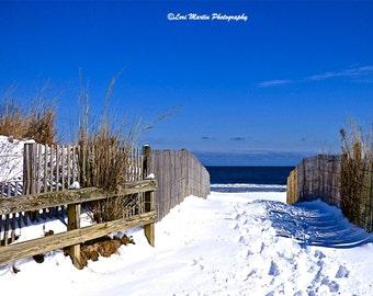 A Snowy Path to the Beach