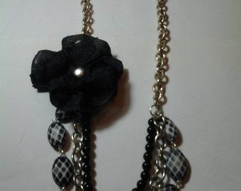 Black & White Hair Three Layered Flower Necklace