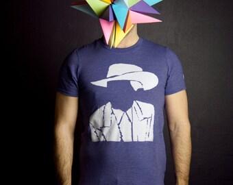 T-shirt Hank Williams cowboy sans visage Hommes Moustache Moutarde