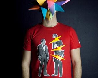 T-shirt duel de cowboy fachés dont un qui répond avec des éclairs Homme Moustache Moutarde