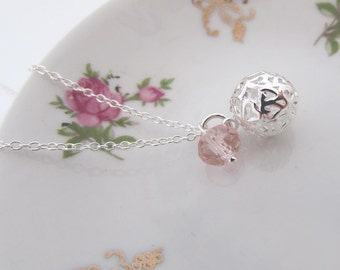 925 Silver plated heart ball and pink crystal necklace, Silver ball charm and crystal necklace