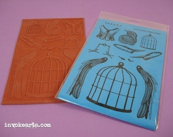 Bird Cage Paper Doll / Invoke Arts Collage Rubber Stamps / Unmounted Stamp Set