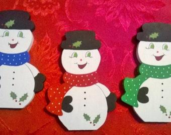 Wooden Standing Snowmen Decoration