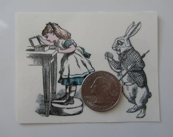 Temporary Tattoo - Alice in Wonderland / Alice and The White Rabbit/Tweedledum and Tweedledee