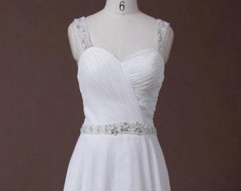 Simple Chiffon Beaded Sweetheart Wedding Dress with Straps, Pleated Chiffon, A-Line, Simple Wedding Dress, Straps, Custom Made
