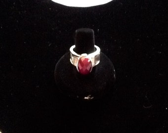 925 rough ruby cabochon ring size 9