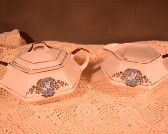 Martha Washington China / sugar bowl / creamer / F.C. Co., / early 1900s / bowl / set / sugar and creamer / china / Washington / coffee