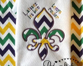 Mardi Gras Fluer De Lis Shirt --- Applique Shirt