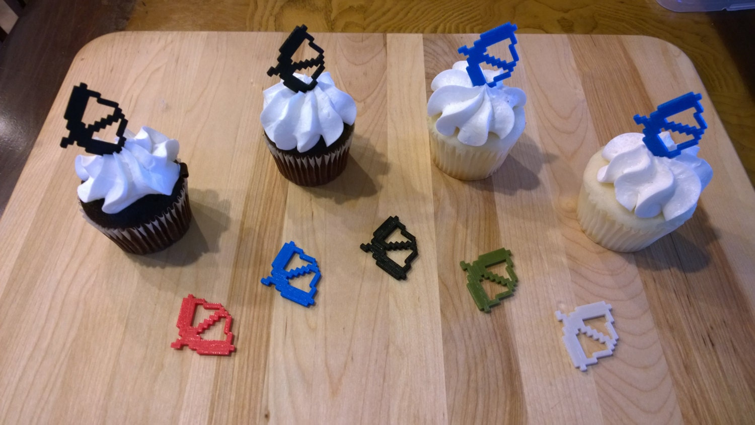 Minecraft Inspired Mc Bow Cupcake Toppers From