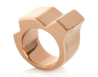 Chunky rose gold ring, Statement ring in rose gold, Geometric ring, Minimalist ring, Statement jewellery, Minimalist jewellery, Rose gold