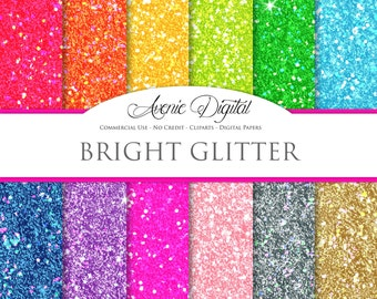 Bright Glitter Digital Paper. Scrapbooking Backgrounds, sparkle patterns for Commercial Use. Rainbow . Instant Download.