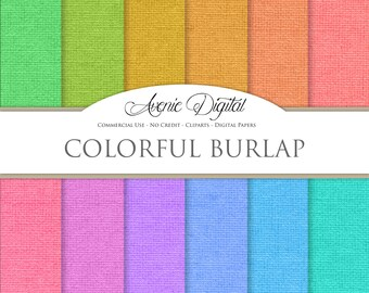 Colorful Burlap Digital Paper. Scrapbooking Backgrounds, Linen patterns for Commercial Use. Fabric textures. Clipart Instant Download.