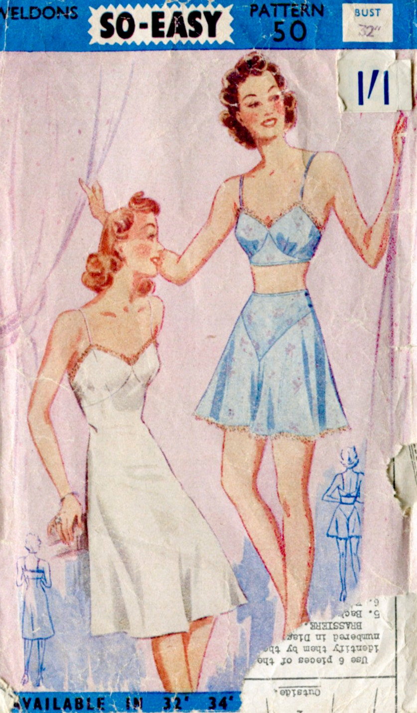 1940s Weldon's vintage lingerie sewing pattern misses