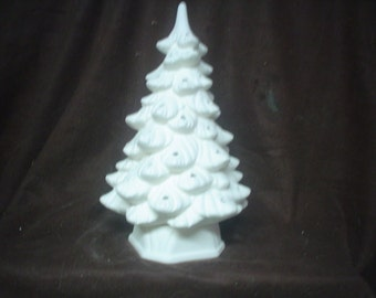 """Ceramic Bisque 11"""" Holland Tree with Hexagonal Base - No Hole for Star- Unpainted Ready to Paint - E226"""