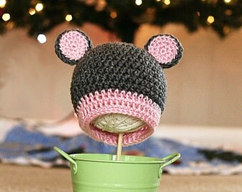 Bear Hat-gray and pink