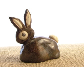 Stoneware Brown Bunny Rabbit Ornament - Bunny Sculpture - Clay Animals - Animal Sculpture