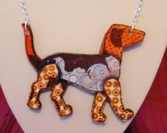 large lasercut tatty dog necklace wood cut devine 7cm wide statement
