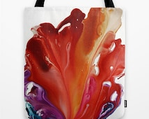 Women Tote Bag, Art Tote Bag, Red, Purple Tote, Unique Floral Tote, Books Tote Bag, Colorful Shopping Tote, Abstract Tote, Gift for Her