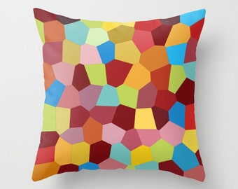 Colorful Pillow Cover, Toss Pillow, Red Blue Green Yellow Purple Cushion, Mosaic Pillow, Couch Pillow, Sofa Pillow, Decorative Pillows