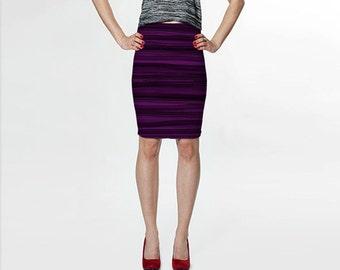 Black and Purple Pencil Skirt, Black Skirt, Knee Length Skirt, Designer Skirt, Printed Skirt, Ladies Clothing, Womens Clothes, Art Skirt
