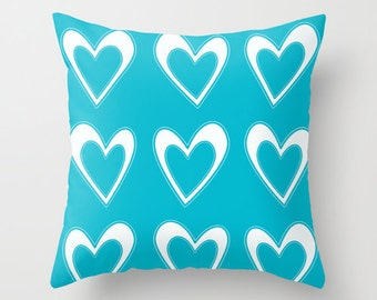 Colorful Pillows, Aqua, Blue, White Heart Pillow, Heart Design, Patio Pillow Summer Throw Pillows, Outdoor Pillow Covers, Decorative Pillows