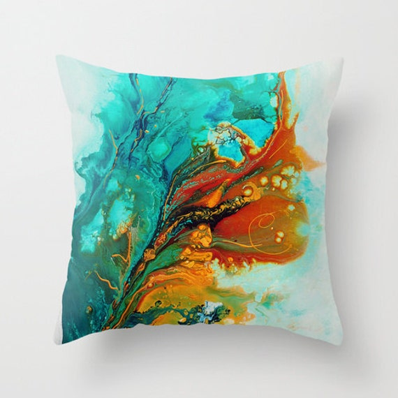 Modern Teal Decorative Throw Pillow : Turquoise Throw Pillow Teal Blue Abstract by DesignbyJuliaBars
