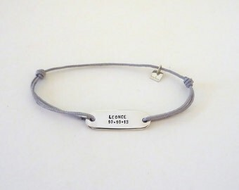 Silver bracelet personalized, to post, adjustable on color cord