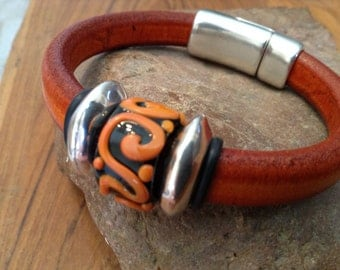 REDUCED - Distressed Orange Leather Bracelet with Glass Bead