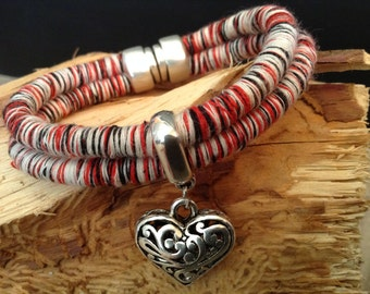 Red/Ivory Knit Cord Bracelet with Silver Heart