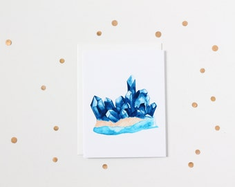 Watercolour Sapphire Gemstone Blank Greeting Card