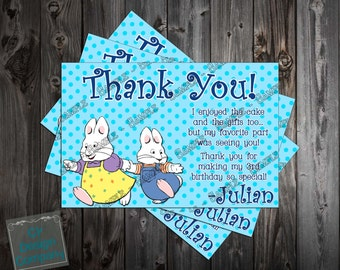 Max and Ruby Birthday Party Thank You Card Printable (Boy or Girl Version Available)
