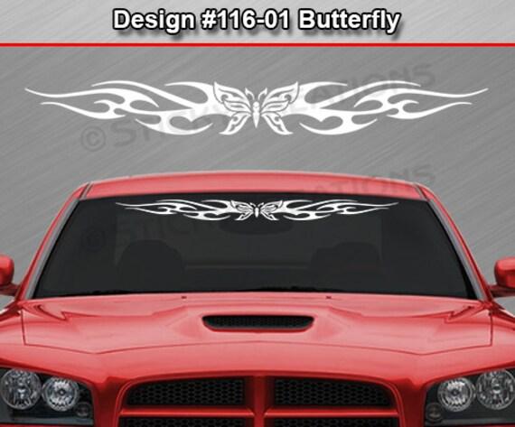 116 01 papillon tribal flamme pare brise autocollant sticker. Black Bedroom Furniture Sets. Home Design Ideas