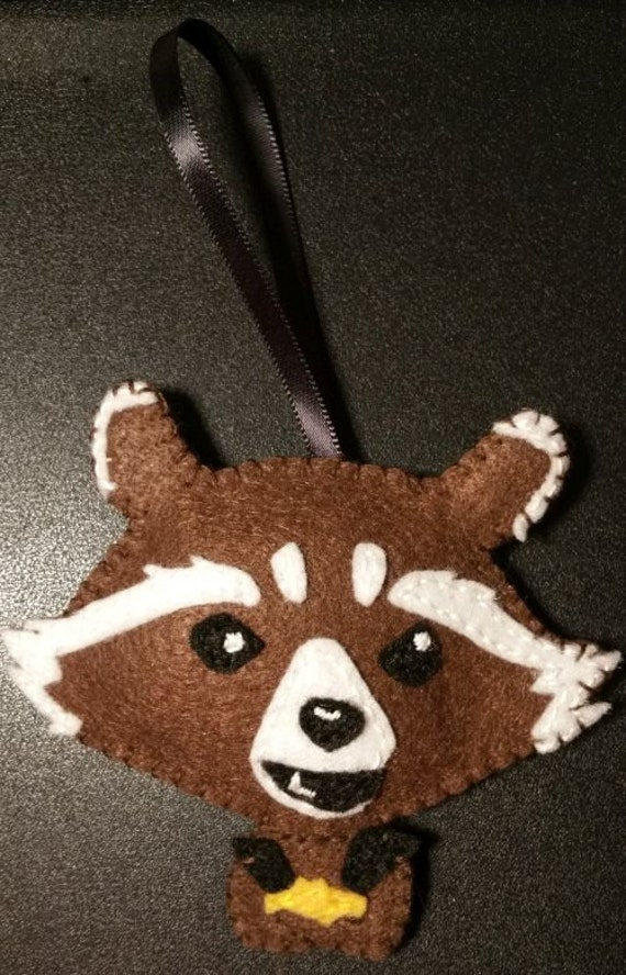 Rocket, Guardians of the Galaxy. Nerdy christmas ornaments! All Felt, super cute, custom orders available.