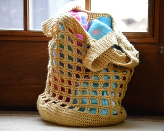 Crochet Beach Bag in Autumn Yellow