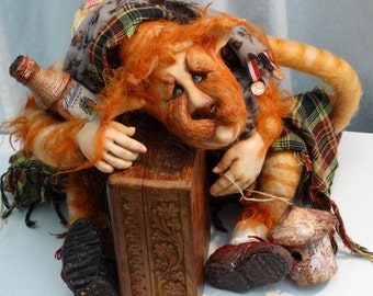OOAK, Cat Art Doll  Figurine Fantasy Sculpture Animal Creature  Macavity, The Mystery Cat
