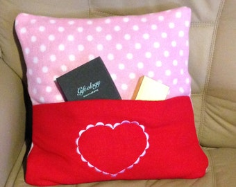 Fleece Pillow with front pocket and removable cover
