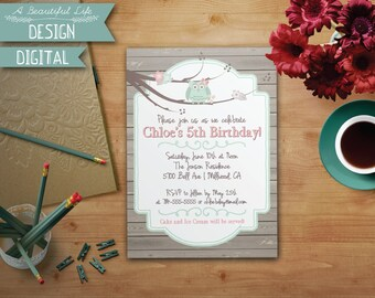 Printable Girl Birthday Invite - Green Owl and Branches - Digital File - Customizable