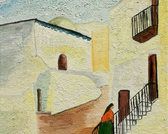 Framework, Oil Painting, a country of 'island Mallorca, Spain, the Spanish island inhabitant