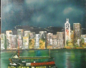 "Hong kong harbour.oil on canvas . 20""x16"" unframed."