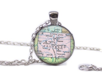 Colorado Map Pendant Map Necklace Colorado Map Jewelry Travel Jewelry