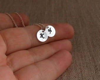 Two Initial Necklace. Initial Disc Necklace. Sterling Silver Necklace. Hand Stamped. Initial Discs. Two Discs, Couples Necklace