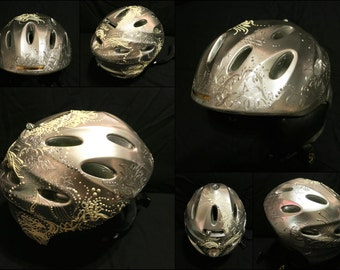 Futuristic silver hand painted custom made ski helmet, size Small