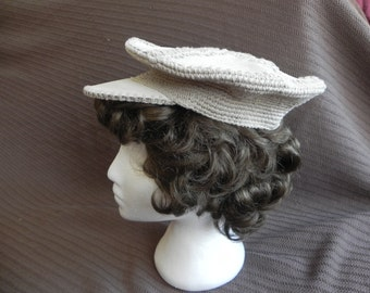 1970's Light Gray Suede and Crochet Beret