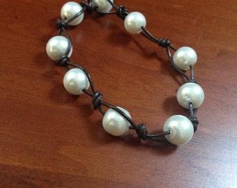 Beaded Pearl leather Bracelet