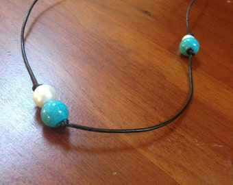 Pearl Beaded leather neckless