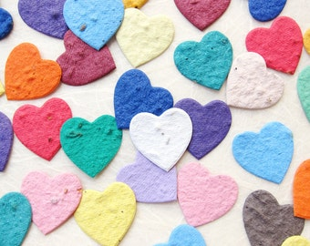 100 Seed Paper Confetti Hearts - Flower Seed Hearts Wedding Favors - Plantable Paper Hearts - Your Choice Color