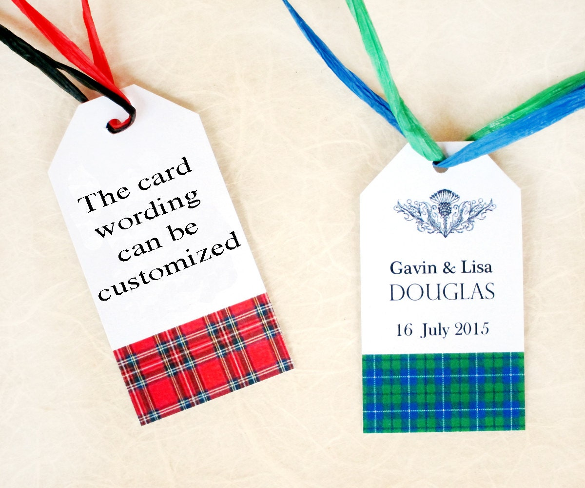 Scottish Wedding Gifts: Scottish Wedding Favor Tags Custom Scottish Tartan Gift Tags