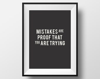 Mistakes Quote, Printable, Printable Art, Printable Typography, Printable Quote, Digital Download, Instant Download, Typography Print